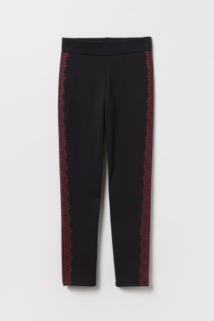 Jersey trousers with lace