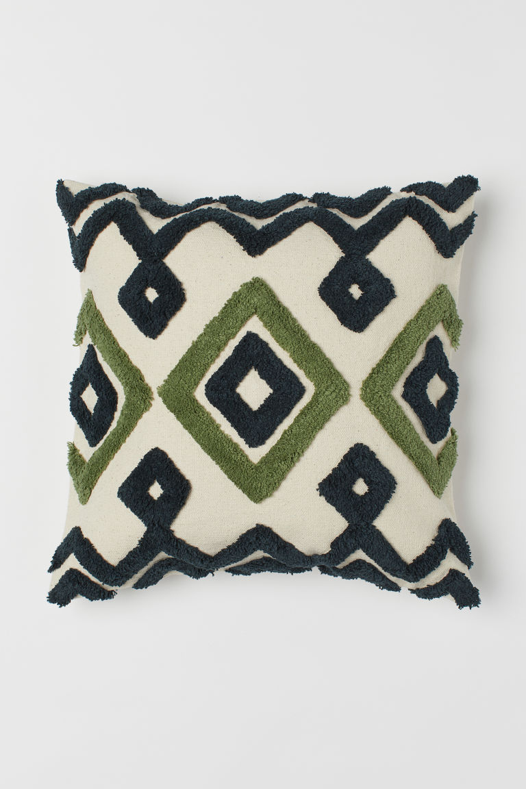 Embroidered Cushion Cover - Light beige/green - Home All | H&M CA 2