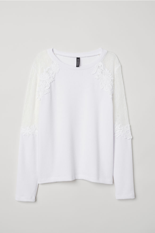 b0cadc0472aa Fine-knit Sweater with Lace - White - | H&M ...
