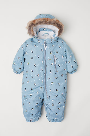 Padded outdoor all-in-one suit - Light blue/Penguins - Kids | H&M