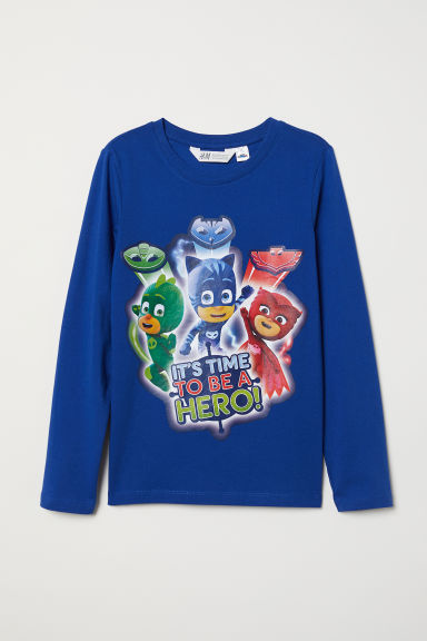 Printed jersey top - Blue/PJ Masks - Kids | H&M