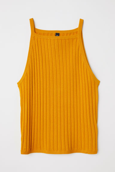 Ribbed strappy top - Yellow - Ladies | H&M