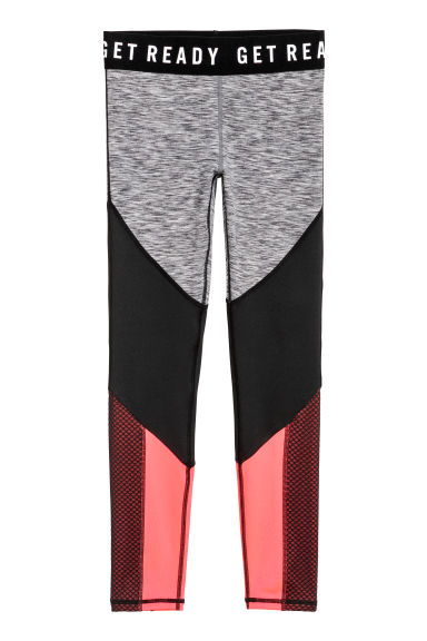 Sports tights - Grey marl/Block-coloured - Kids | H&M CN