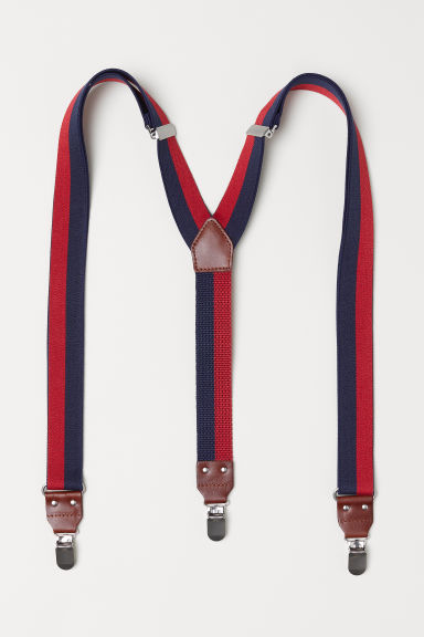 Striped braces - Dark blue/Red striped - Men | H&M CN