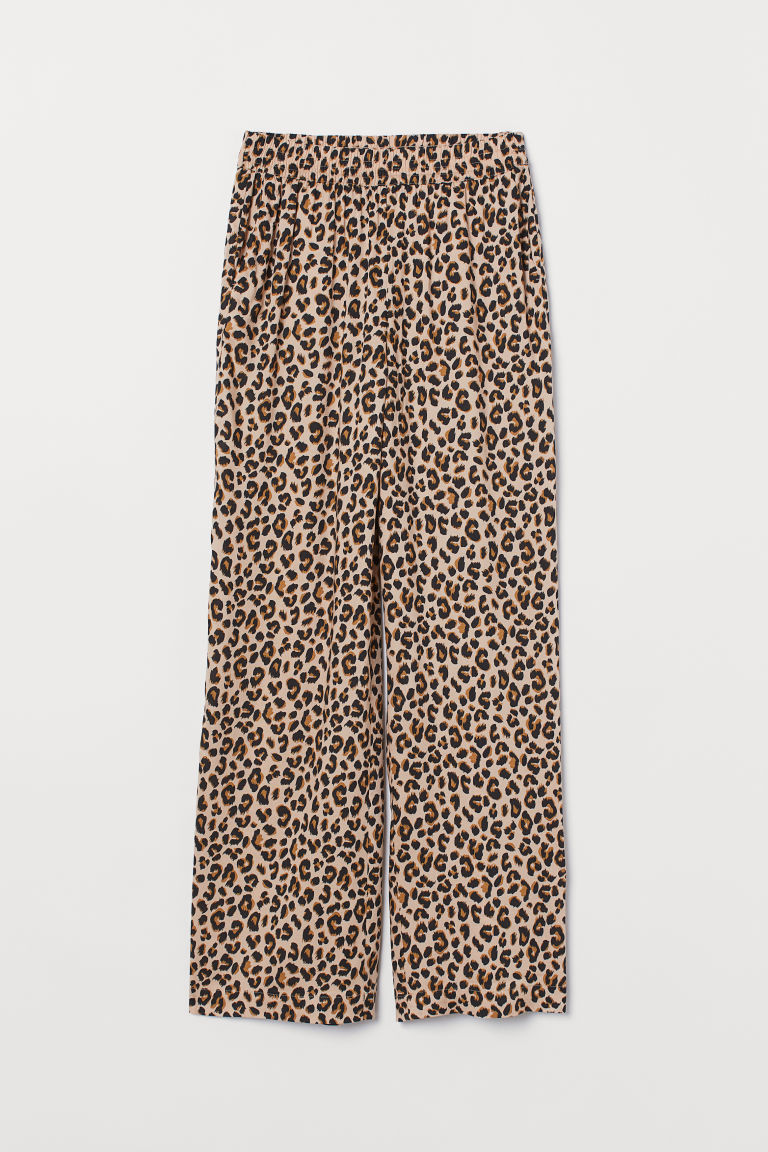 Wide-leg Pants - Beige/leopard print - Ladies | H&M CA