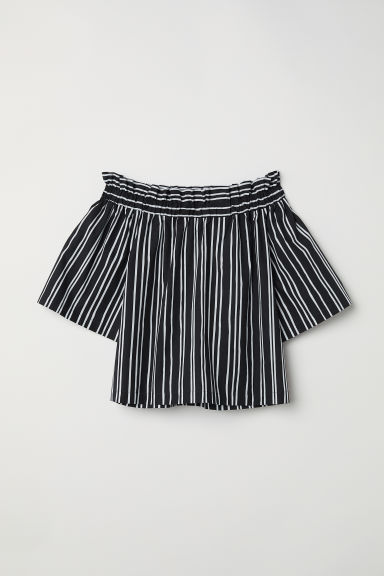 Off-the-shoulder blouse - Black/Striped - Ladies | H&M