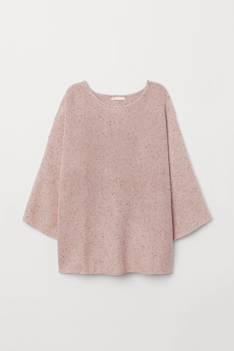 Purl-knit jumper - Powder pink/Nepped - Ladies | H&M