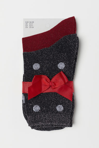 2-pack glittery socks - Black/Red - Ladies | H&M