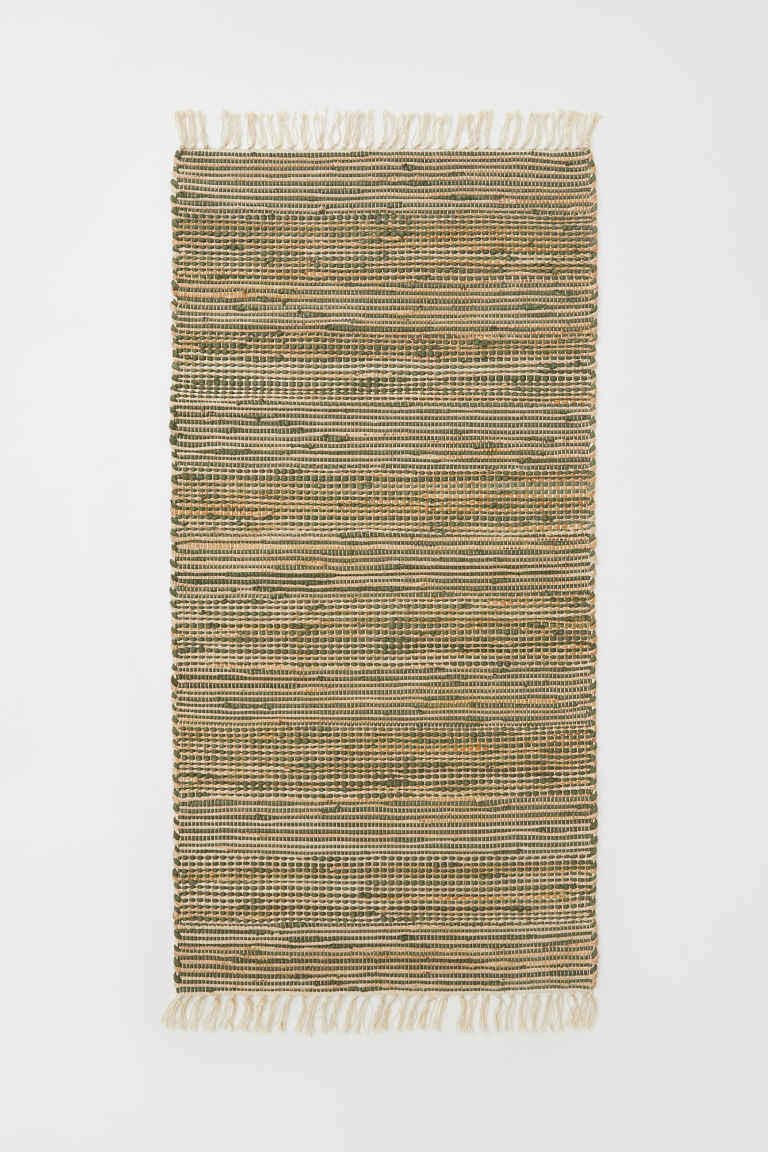 Handwoven rug with jute - Beige/Dark green - Home All | H&M CN
