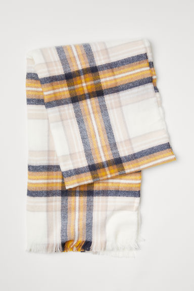 Checked scarf - Cream/Checked - Ladies | H&M