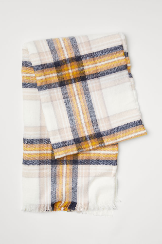Checked Scarf - Cream/checked - Ladies | H&M US 1