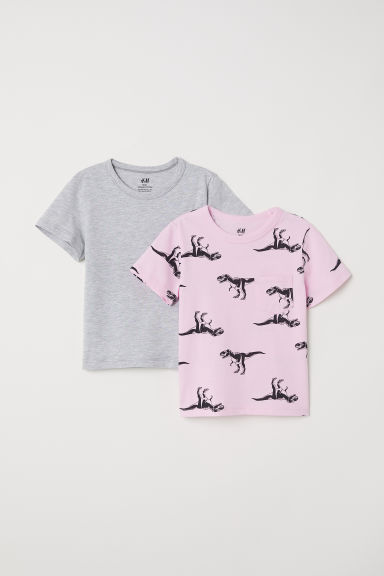 2-pack T-shirts - Pink/Dinosaurs - Kids | H&M