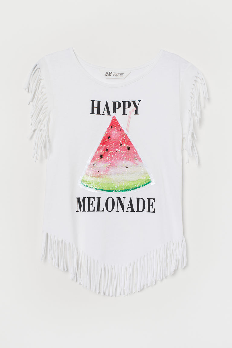 Jersey top with fringing - White/Watermelon - Kids | H&M