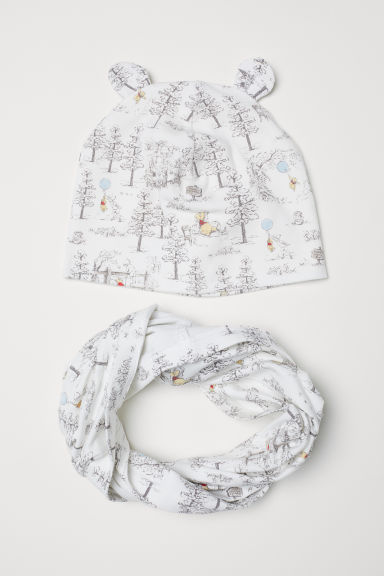 Hat and tube scarf - White/Winnie the Pooh - Kids | H&M CN