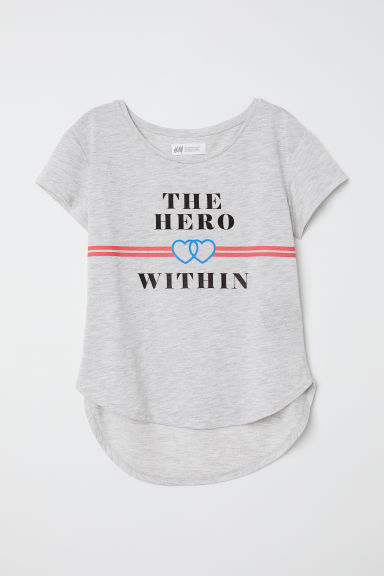 Top en jersey avec impression - Gris clair/Hero -  | H&M FR