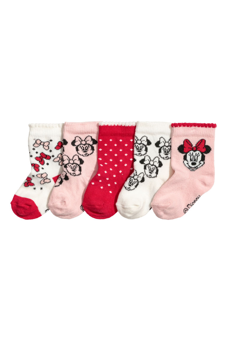 5-pack socks - Powder pink/Minnie Mouse - Kids | H&M CN