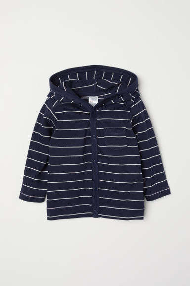 Jersey hooded cardigan - Dark blue/Striped - Kids | H&M
