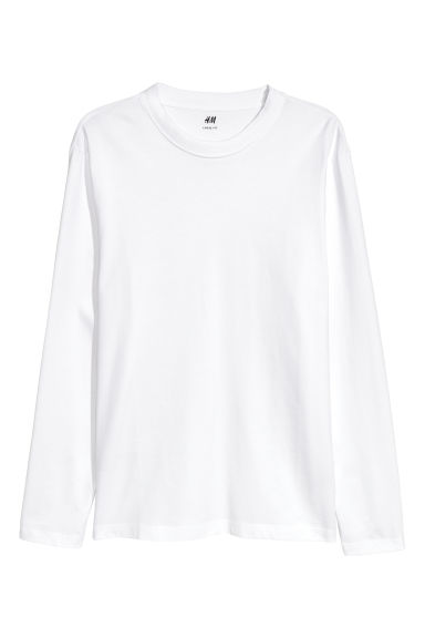 Long-sleeved top Loose fit - White - Men | H&M