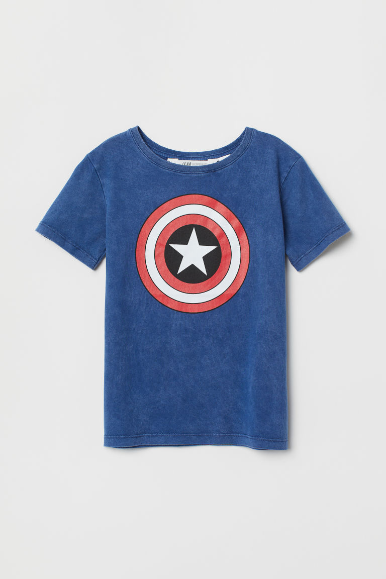 Printed T-shirt - Blue/Captain America - Kids | H&M CN