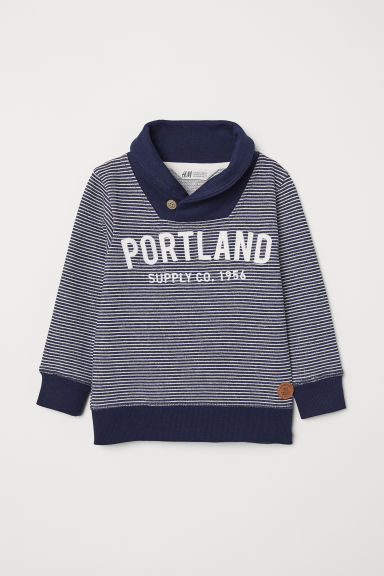 Shawl collar sweatshirt - Dark blue/Striped - Kids | H&M