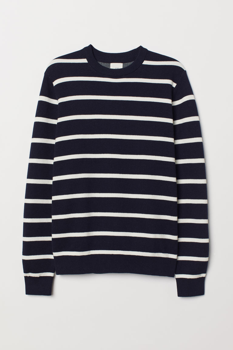 Fine-knit jumper - Dark blue/White striped - Men | H&M