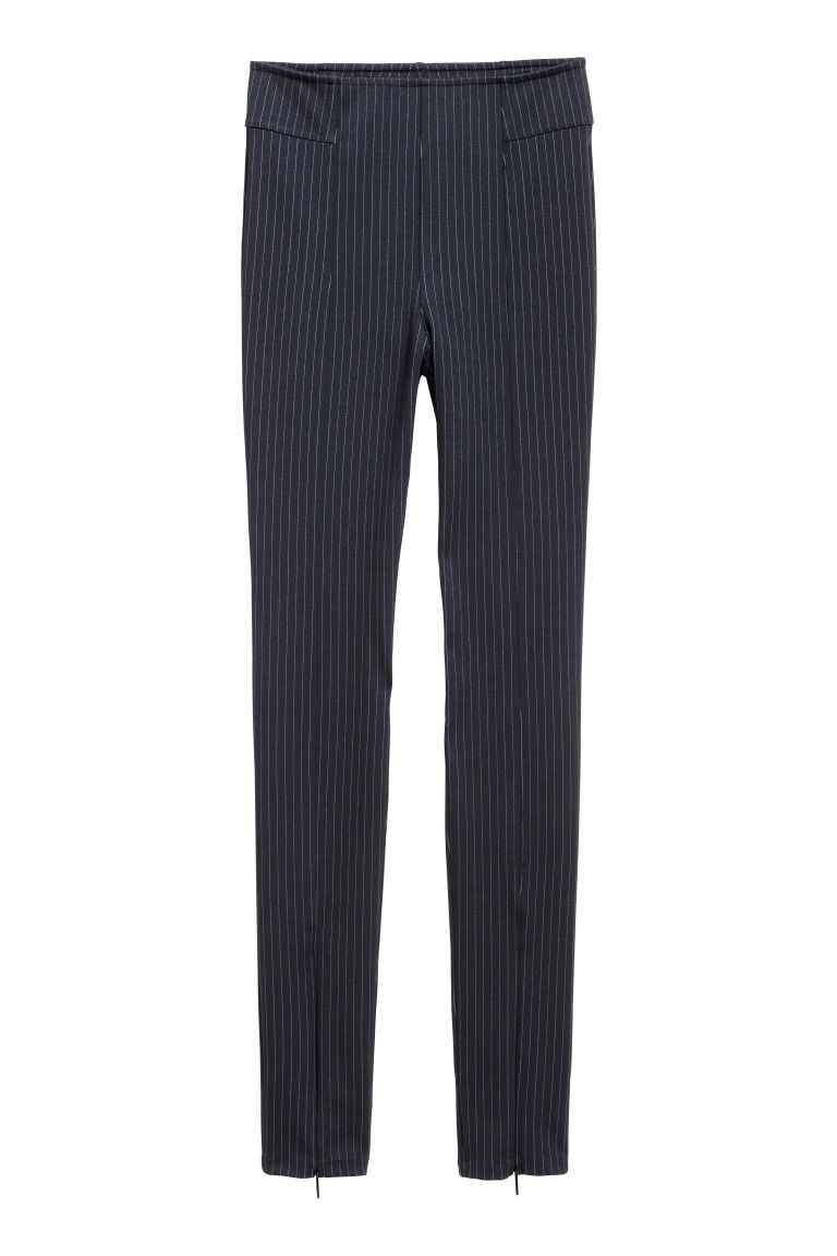 Zip-hemmed treggings - Dark blue/Pinstriped - Ladies | H&M GB