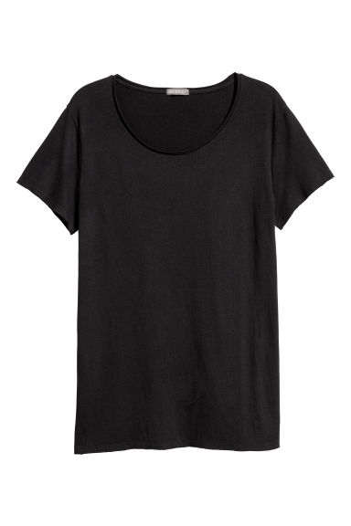 Raw-edge T-shirt - Zwart - HEREN | H&M BE