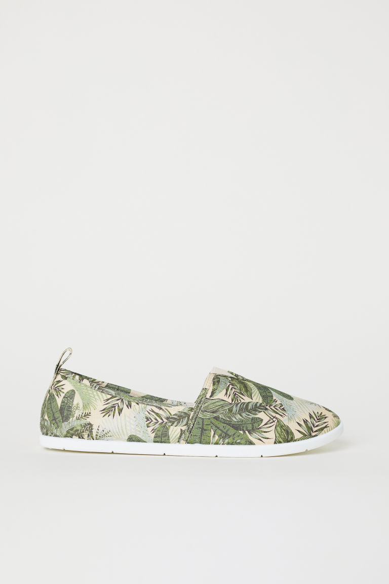 Slip-on trainers - Light beige/Leaf-patterned - Ladies | H&M CN