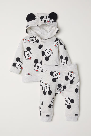 Hooded jacket and trousers - Light grey marl/Mickey Mouse - Kids | H&M IE