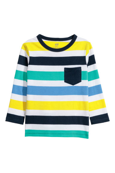 Jersey top - White/Striped - Kids | H&M CN