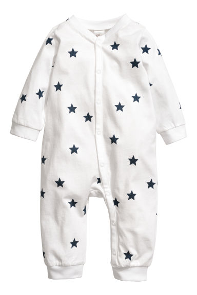 Printed all-in-one pyjamas - White/Stars - Kids | H&M