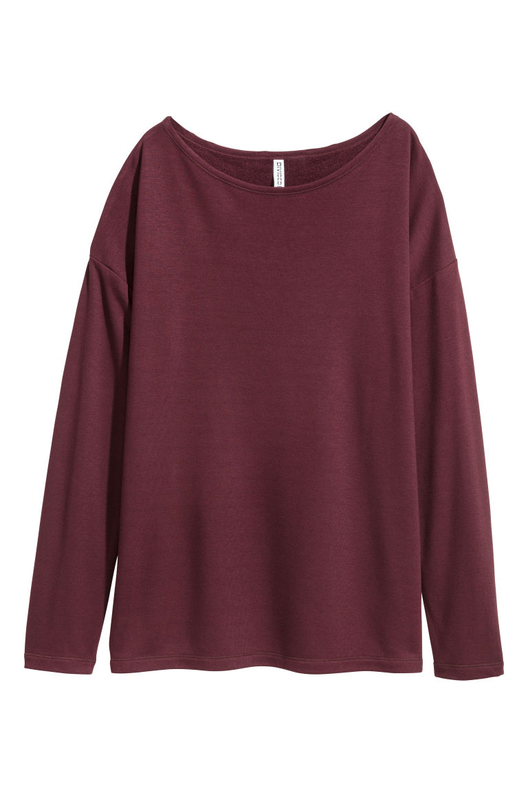 Long-sleeved jersey top - Red -  | H&M CN