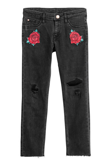Superstretch Skinny Fit Jeans - Black denim/Roses - Kids | H&M