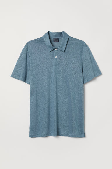 Linen-blend polo shirt - Steel blue - Men | H&M