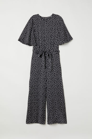 Silk satin jumpsuit - Black/Patterned - Ladies | H&M CN