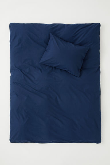 Cotton duvet cover set - Dark blue - Home All | H&M CN