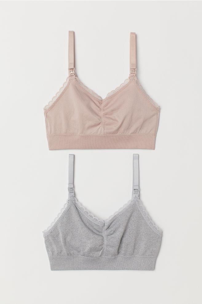 52f517994e6c7 MAMA 2-pack Soft Nursing Bras - Light gray powder pink - Ladies