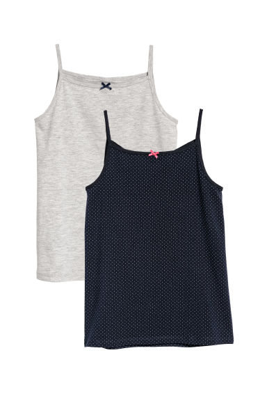 2-pack vest tops - Dark blue/Spotted - Kids | H&M CN