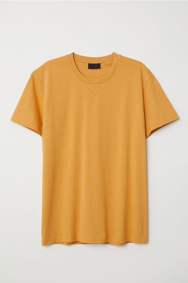 690aca01 Round-necked T-shirt - Mustard yellow - Men | H&M ...