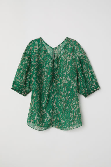 Lyocell and silk top - Green/Patterned -  | H&M