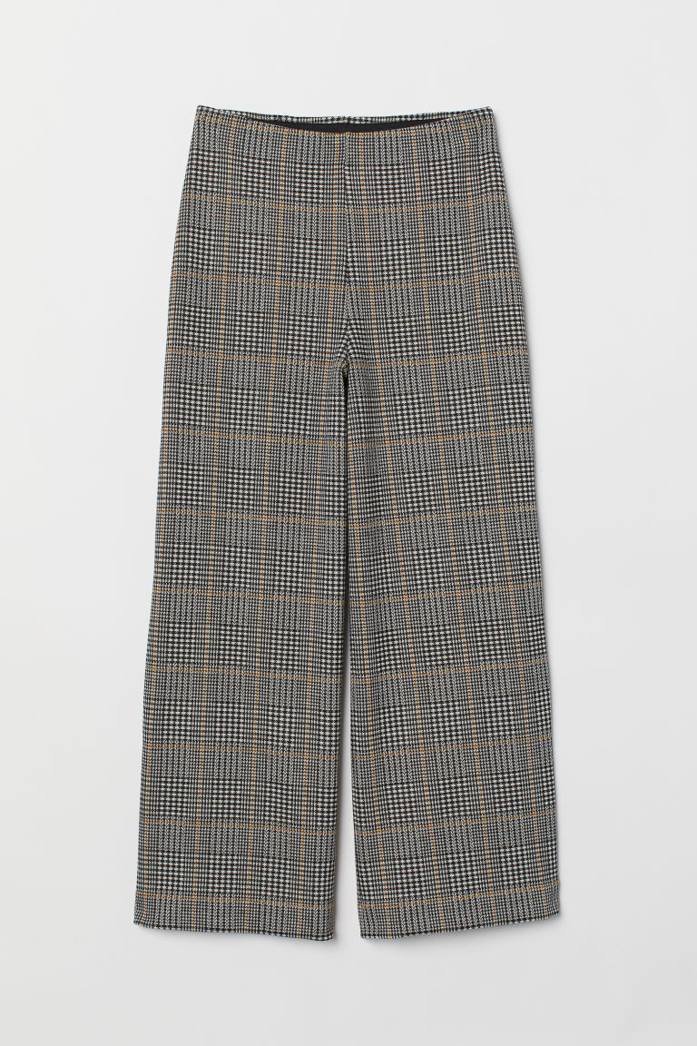 Jersey culottes - Black/White checked - Ladies | H&M
