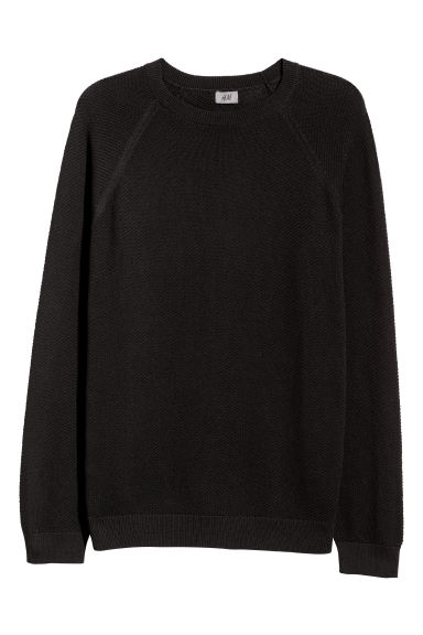 Knitted pima cotton jumper - Black -  | H&M GB