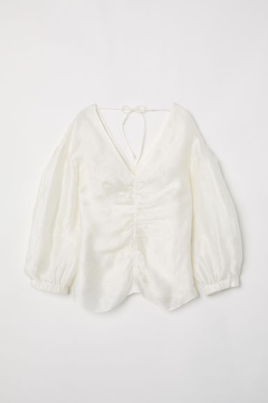 Lyocell and silk top - Natural white - Ladies | H&M