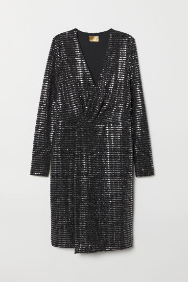 Sequined dress - Black/Silver-coloured - Ladies | H&M CN