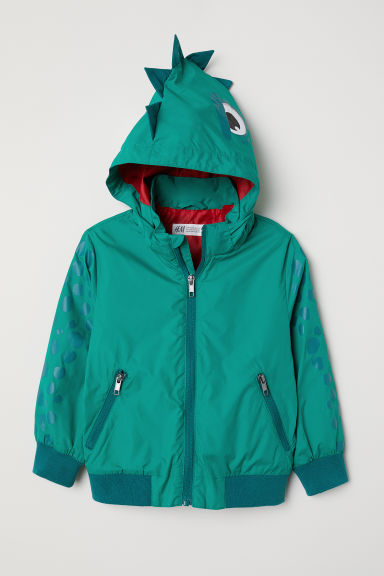 Outdoor jacket with a hood - Green/Dragon - Kids | H&M CN