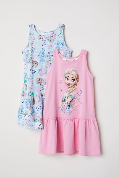2-pack jersey dresses - Light turquoise/Frozen - Kids | H&M CN
