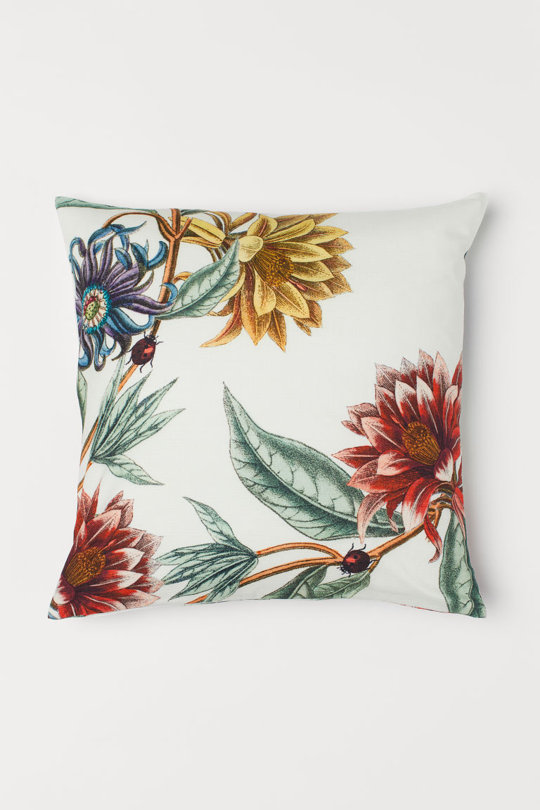 Patterned cushion cover - White/Floral - Home All | H&M GB