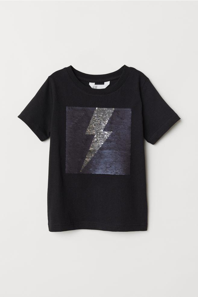 3d753eb48a388 T-shirt avec motif - Noir éclair - ENFANT