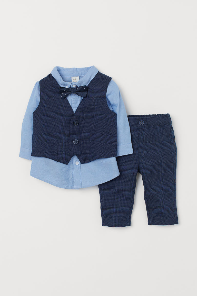 4-piece Set - Dark blue/checked - Kids | H&M CA