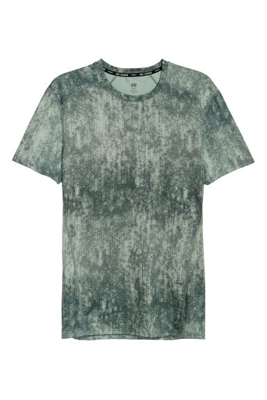 Short-sleeved sports top - Khaki green/Patterned - Men | H&M